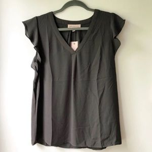 NWT/ Philosophy Charcoal Flutter Sleeve Blouse
